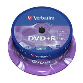 Verbatim 43500 DVD+R 16x Matt Silver 4.7GB 25 Li Cakebox