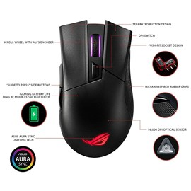 Asus P702 ROG Gladius II Wireless Optik 16K FPS Aura Sync RGB Gaming Mouse