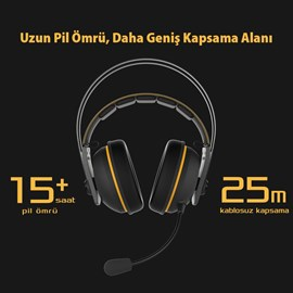 Asus TUF GAMING H7 Wireless Sarı 7.1 Gaming Kulaklık PC Mac PS4