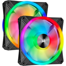 Corsair CO-9050100-WW iCUE QL140 RGB 140mm PWM Dual Fan Kit Lighting Node CORE