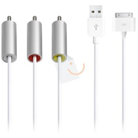 Apple MC748ZM/A iPad iPod ve iPhone Kompozit AV Kablosu ve USB Şarj Adaptörü
