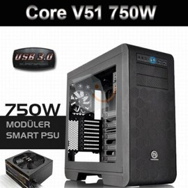 Thermaltake CA-3C6-75M1WE-00 Core V51 SP750W 80+Bronze PSU USB 3.0 Pencereli Kasa (Hediyeli)