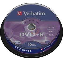 Verbatim 43498 DVD+R 16x Matt Silver 4.7GB 10 Lu Cakebox