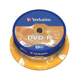 Verbatim 43522 DVD-R 16x Matt Silver 4.7GB 25 Li Cakebox