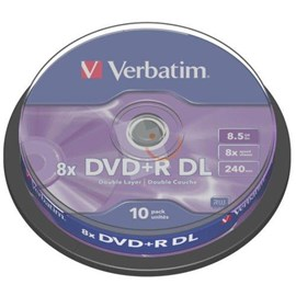 Verbatim 43666 DVD+R 8.5GB Double Layer 8x Matt Silver 10 Lu Cakebox