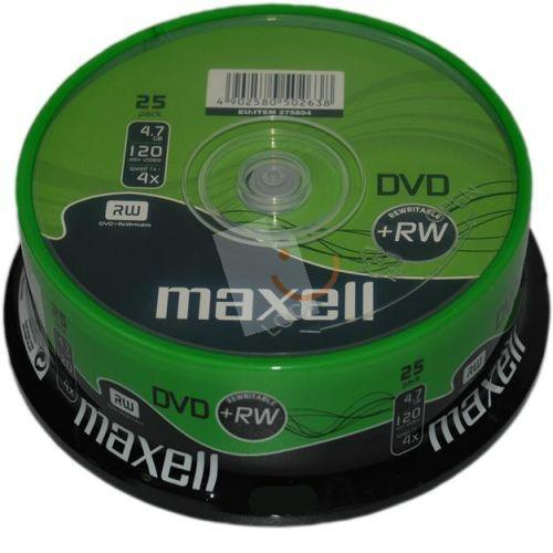 MAXELL 275894 DVD+RW 4X 4.7gb 25'li Cakebox