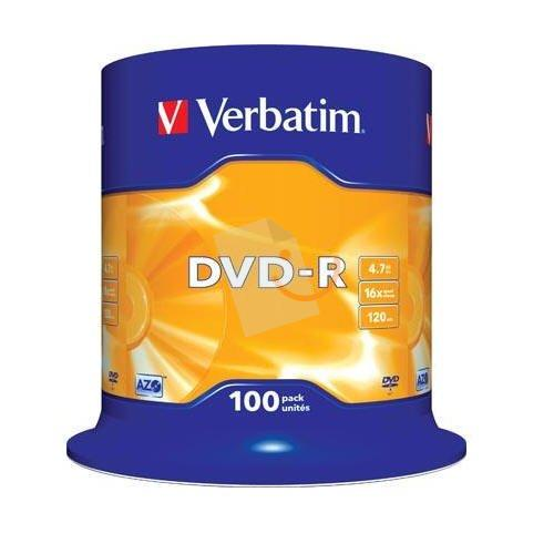 Verbatim 43549 DVD-R Matt Silver AZO 16x 4.7GB 100 Lü Cakebox