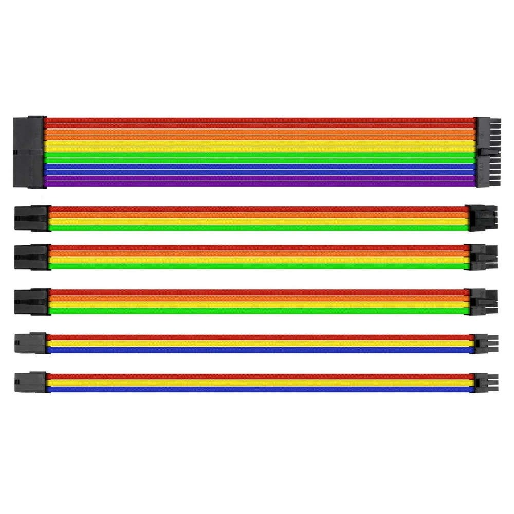 Thermaltake TtMod Rainbow Power Supply Sleeved Kablo Seti