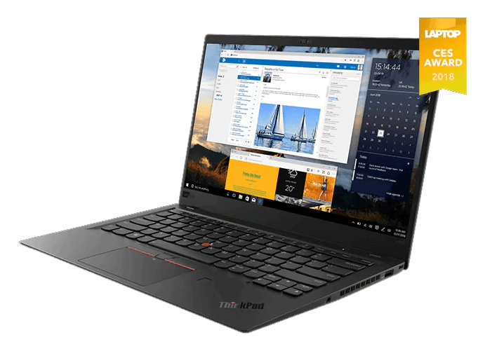 Lenovo ThinkPad X1 Carbon (6th Gen) in silver, showing dazzling display.